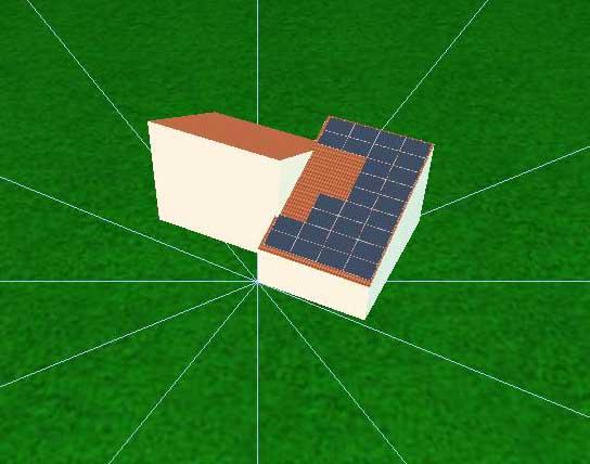 Model af hus med solceller